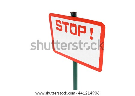 Stop sign at ski resort isolated - stock photo