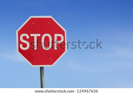 Stop sign blue sky background. Thailand Language. - stock photo