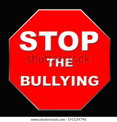 stop sign bullying poster red and black illustration - stock photo