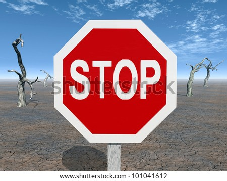 Stop Sign Computer generated 3D illustration - stock photo