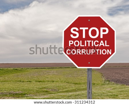 Stop Sign Concept On Political Corruption Addition to Sign Set Series - stock photo