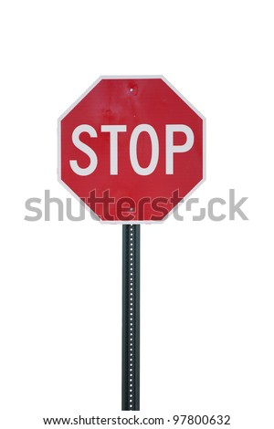 Stop sign isolated on white. Clipping path included. - stock photo