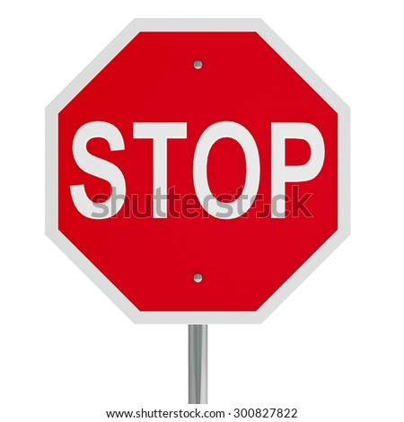 Stop sign on a white table represents warning and prohibition, three-dimensional rendering - stock photo