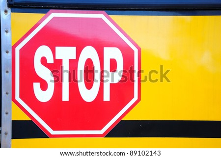 Stop sign on car - stock photo