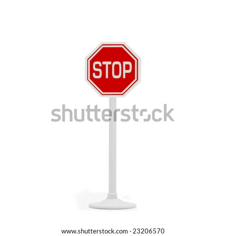 Stop sign post on white isolated background - stock photo