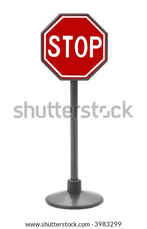 Stop sign toy isolated over a white background - stock photo