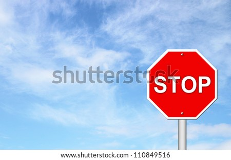 stop sign with blue sky blank for text