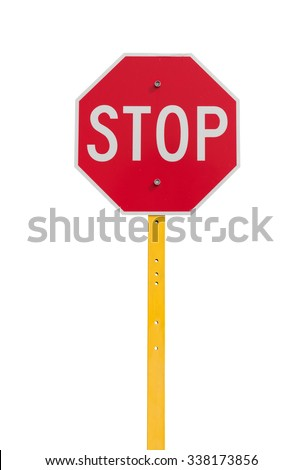 stop sign with reflective surface on yellow pole isolated on white background - stock photo