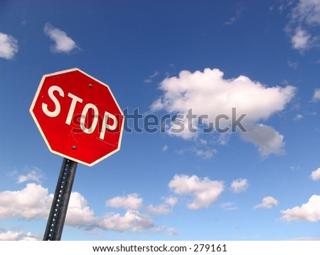Stop Sign with Sky and clouds