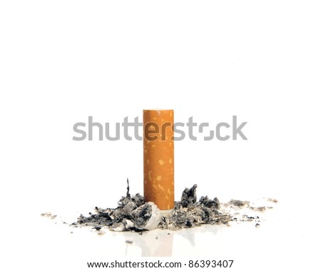 Stop smoking - Cigarette butt on white background