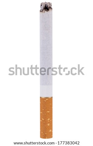 stop smoking cigarettes ashtrey nicotine closeup isolated object - stock photo