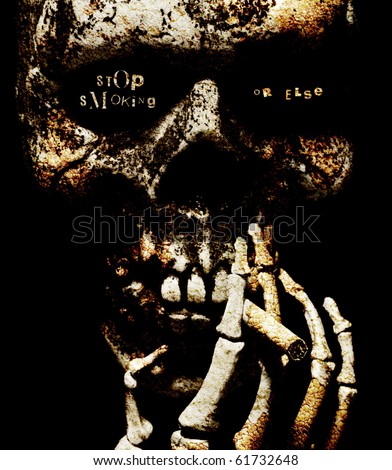 stop smoking or else - a ransom note style threat written in the eye sockets of a skull smoking a cigarette, textured with cracked stone and lichen - stock photo