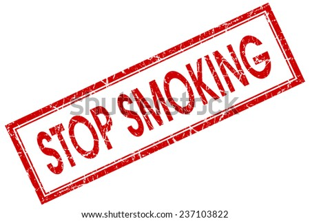 stop smoking red square stamp isolated on white background - stock photo