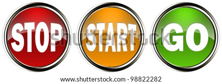 Stop, Start and Go Illuminated Glass Buttons - stock photo