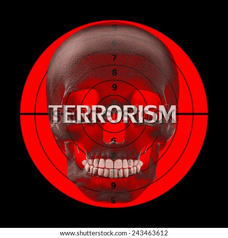 Stop terrorism,human skull, target,text, and black background - stock photo