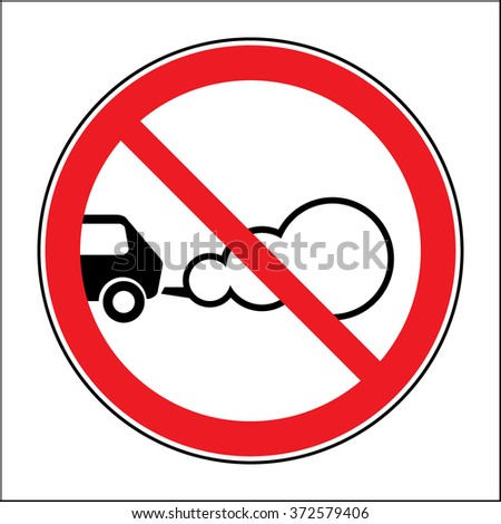 Stop the engine icon. Parking with the engine running is prohibited sign. Concept of smog pollutant, damage, contamination, garbage, combustion products. On white background. Flat design.  - stock photo