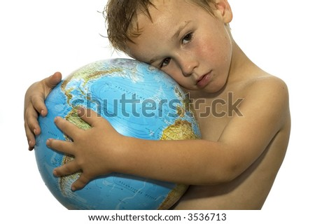 Stop the global warming! Picture of a sweating boy holding a globe, representing the rising temperature on our earth. He's got his whole life in front of him. - stock photo