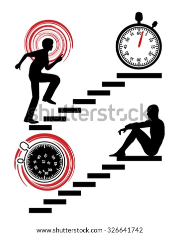 Stop the Rat Race. Busy person winning the race against time by quitting - stock photo