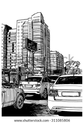 Stop traffic. City view urban scene. Black and white dashed style sketch, line art, drawing with pen and ink. Western classical trend of book illustration and comic art. Retro vintage picture. - stock photo