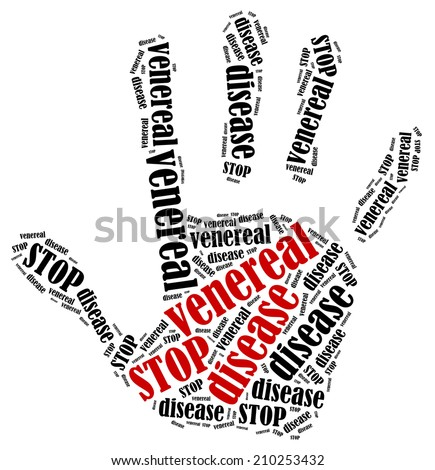 Stop venereal disease word cloud illustration in shape of hand print