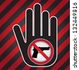 Stop Violence Or No Gun Prohibited Sign Present By Hand With No Gun Sign in Caution Zone Dark and Red Background - stock photo