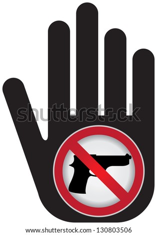 Stop Violence Or No Gun Prohibited Sign Present By No Gun Sign Isolated on White Background - stock photo