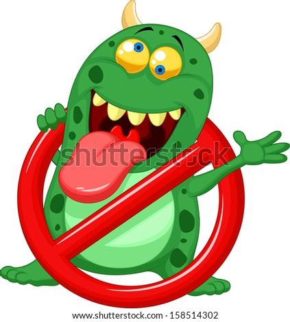 Stop virus - green virus in red alert sign - stock photo