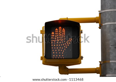 Stop Walk Crossing Sign Signal Isolated on White - stock photo