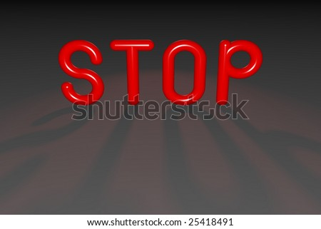STOP with Red Neon Balloon Letters and Spotlight
