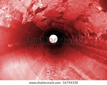 Stopped gas pipeline . Inside of industry equipment - stock photo