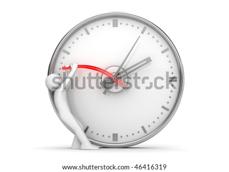 Stopping clock hands to stop the time (3d isolated on white background characters series) - stock photo