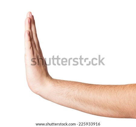 Stopping hand isolated over white background - stock photo