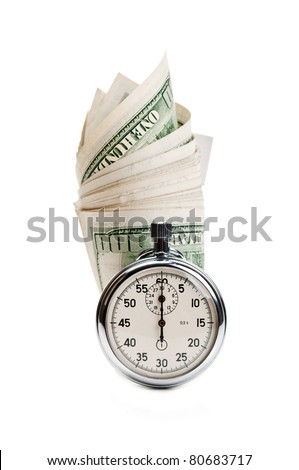 stopwatch and dollar isolated on a white background - stock photo