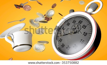 Stopwatch and time 3d concept - stock photo