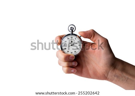 stopwatch hold in hand, button pressed, white background - stock photo