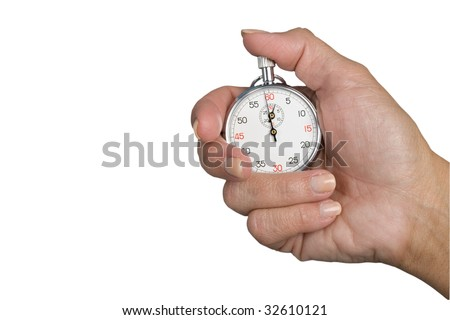 Stopwatch in hand isolated on a white background, stopwatch with clipping path