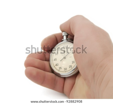 Stopwatch in hand isolated on white background