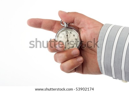 Stopwatch in hand over white