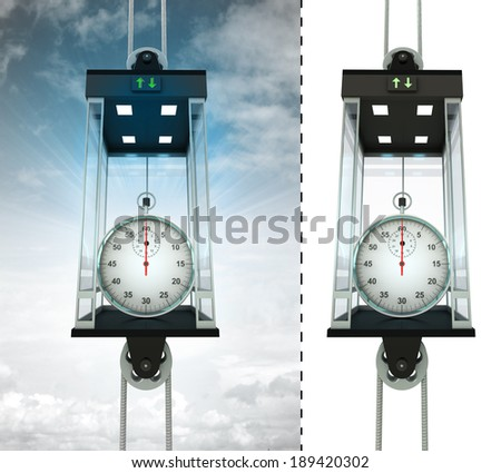 stopwatch in sky elevator concept also isolated one illustration - stock photo
