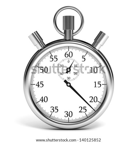 Stopwatch on white background. 3D illustration.