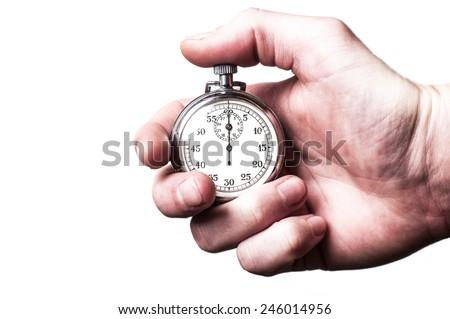 Stopwatch white - stock photo