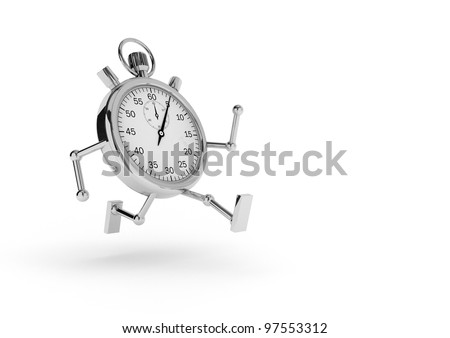 Stopwatch with arms and legs that runs on white background. - stock photo