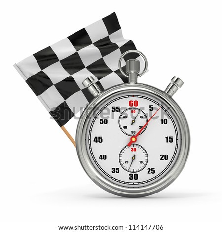 Stopwatch with checkered flag. Start - finish. 3d - stock photo