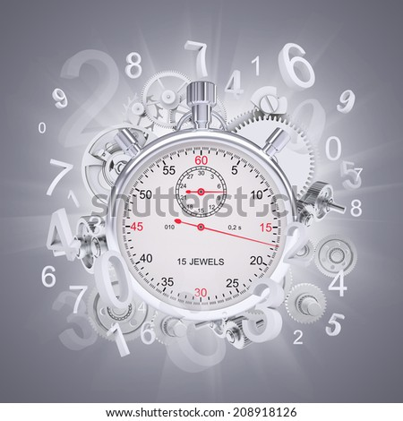 Stopwatch with figures and gears - stock photo