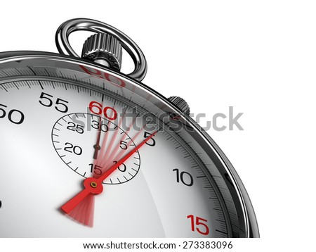 Stopwatch with red second hand - Time concept - stock photo