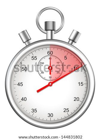 stopwatch with ten seconds period highlighted - stock photo