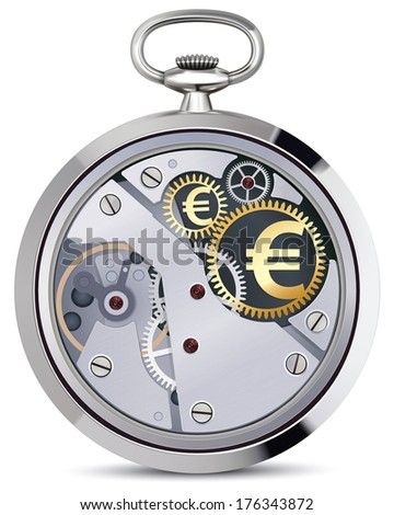 Stopwatch works with euro coins signs. Illustration - stock photo