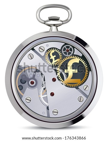 Stopwatch works with pound coins signs. Illustration - stock photo