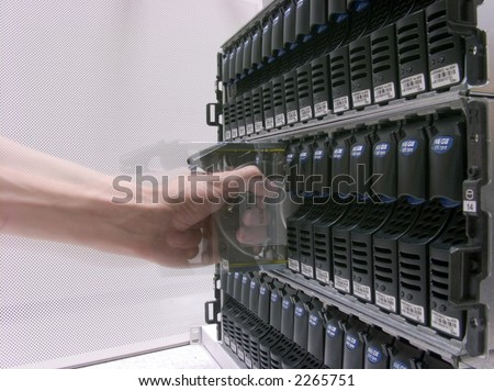 Storage Area Networking, Cluster of Hard Drives - stock photo