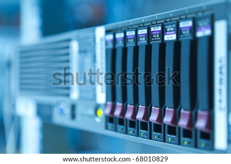 storage area with scsi hard drives - stock photo